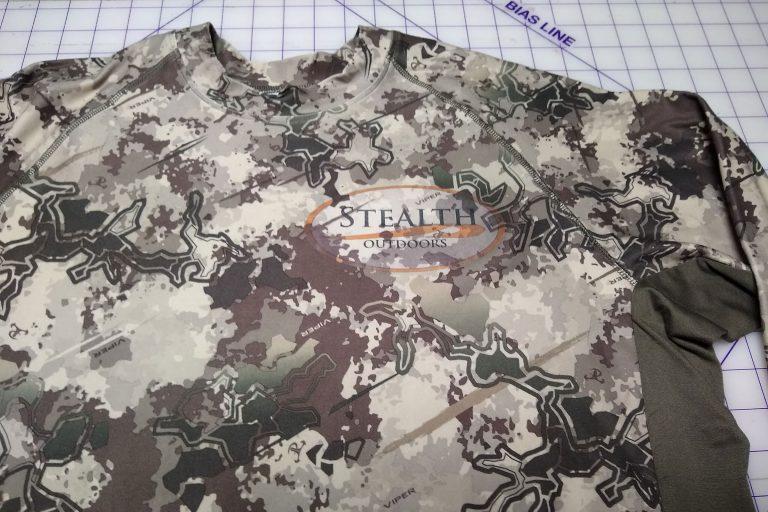 Camo turkey hunting shirt closeup