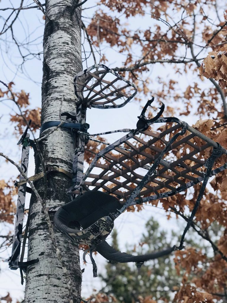 Treestand wrapped in Smoke Camo Treestand Kit