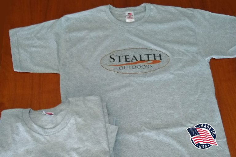 Gray T-shirt USA Made with Stealth Outdoors logo